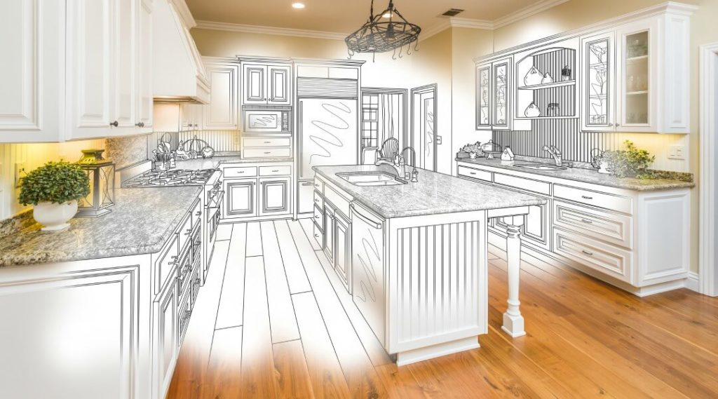 drawing of a kitchen renovation project