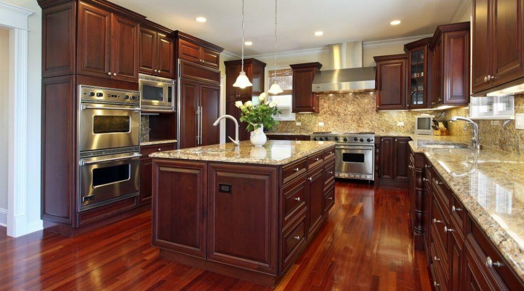 u shaped cherry designed kitchen