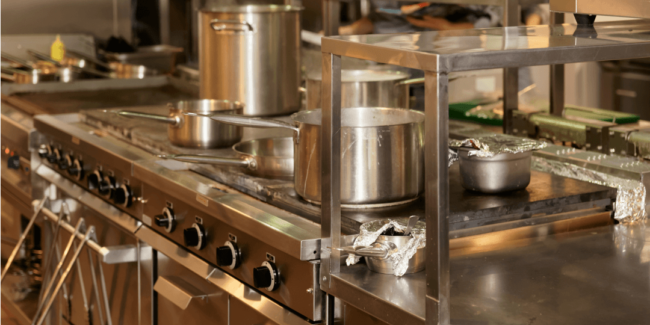 pots and pans in a commercial kitchen