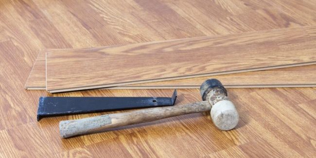 tools after a kitchen flooring installation